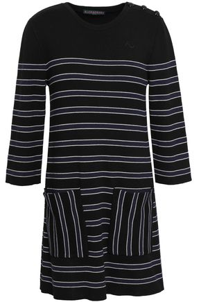 ALEXACHUNG Striped wool and cotton-blend mini dress