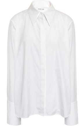 HELMUT LANG PVC-trimmed cotton-poplin shirt