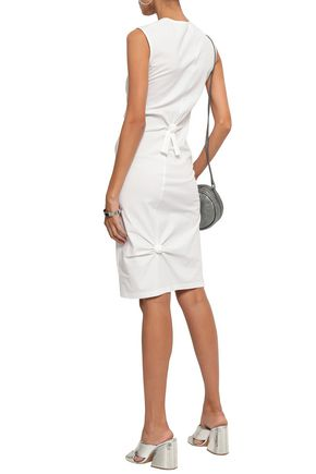 HELMUT LANG Knotted cotton-blend jersey dress