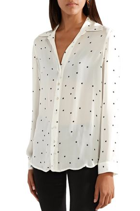 L'AGENCE Nina printed silk-georgette shirt