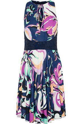 EMILIO PUCCI Sequin-paneled printed stretch-silk jersey dress