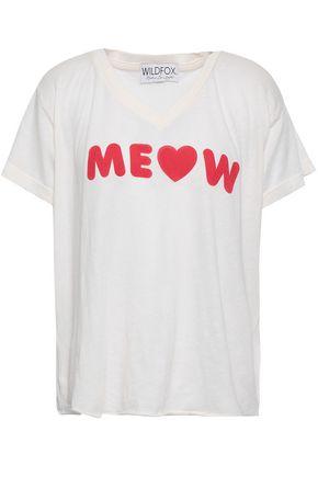 WILDFOX Printed slub cotton-blend jersey T-shirt
