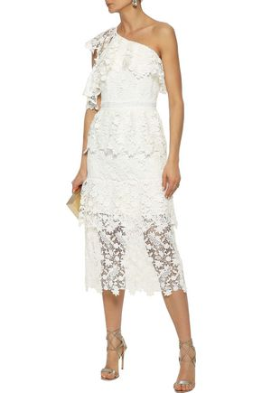 JOIE Belisa one-shoulder tiered guipure lace midi dress