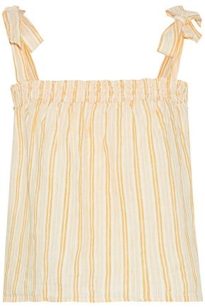 JOIE Raheda shirred striped linen top