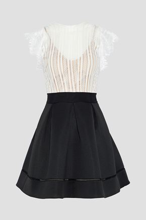 CATHERINE DEANE Ina flared lace and ponte mini dress