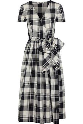 DIANE VON FURSTENBERG Checked cotton midi wrap dress