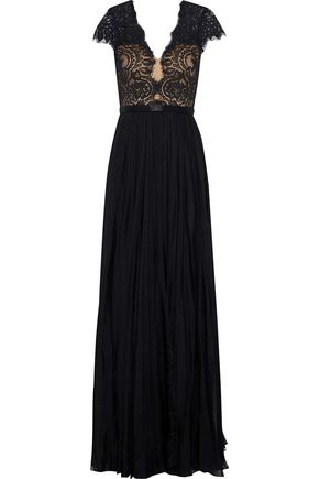 CATHERINE DEANE Nessie satin-trimmed lace and silk-chiffon gown