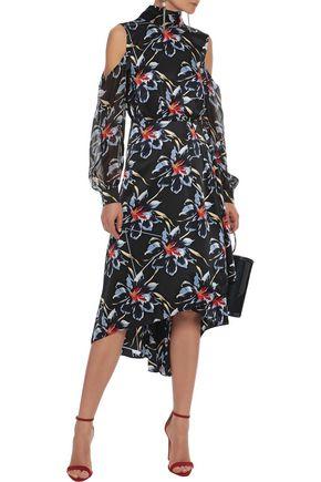 0e0d3369ae6541 DIANE VON FURSTENBERG Cold-shoulder floral-print chiffon-paneled silk dress