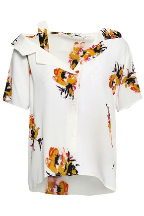A.L.C. Cutout floral-print silk-crepe shirt