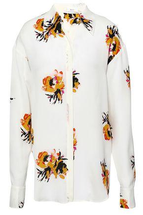 A.L.C. Floral-print silk-crepe shirt