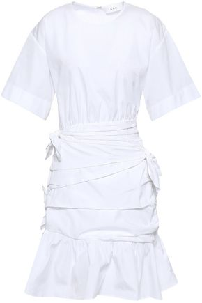 A.L.C. Knotted ruched cotton-poplin mini dress