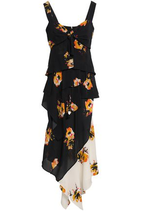A.L.C. Asymmetric floral-print silk-crepe midi dress