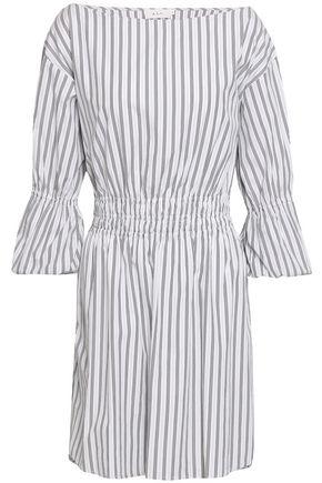 A.L.C. Gathered striped cotton-poplin mini dress