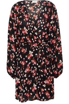 A.L.C. Floral-print silk-crepe mini wrap dress
