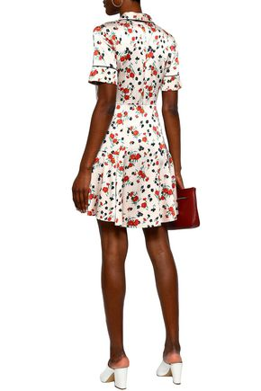 A.L.C. Floral-print stretch-silk satin mini shirt dress