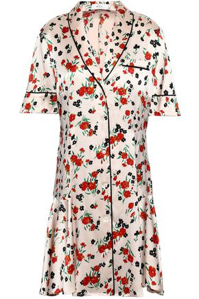 A.L.C. Floral-print stretch-silk satin mini shirt dress