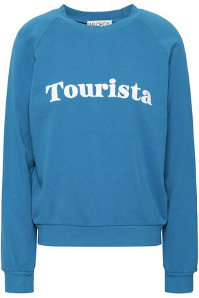 WILDFOX Flocked French cotton-terry sweatshirt