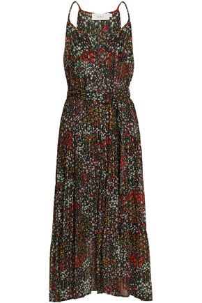 A.L.C. Belted fil coupé floral-print silk-blend midi dress