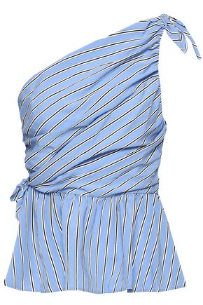 A.L.C. One-shoulder knotted striped poplin top