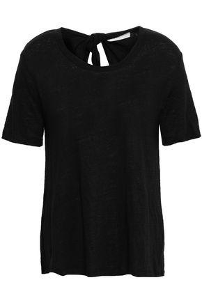 A.L.C. Tie-back cutout linen-jersey T-shirt