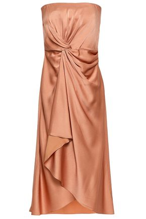 A.L.C. Strapless draped satin-crepe dress