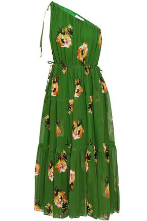 A.L.C. One-shoulder floral-print silk-georgette midi dress