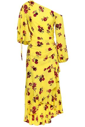 A.L.C. Asymmetric ruched floral-print silk crepe de chine midi dress