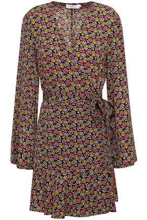 A.L.C. Printed silk-crepe mini wrap dress