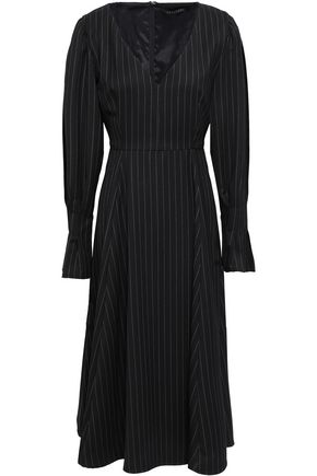ALEXACHUNG Pinstriped wool-blend twill midi dress