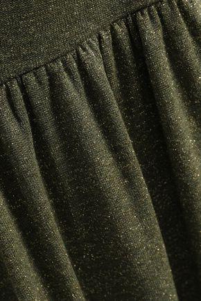 ALEXACHUNG Metallic stretch-knit midi dress