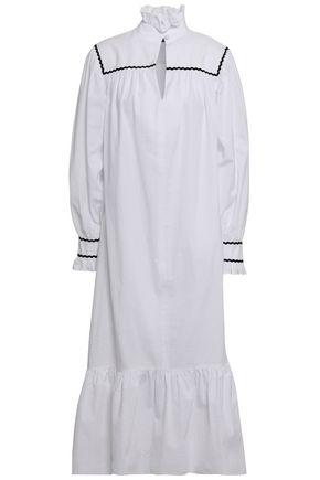 ALEXACHUNG Rickrack-trimmed cotton-seersucker midi dress