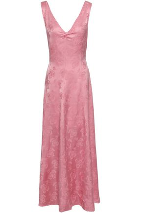 ALEXACHUNG Fluted satin-jacquard maxi dress