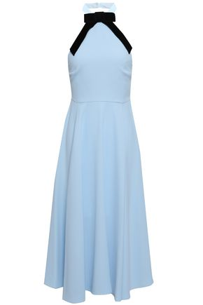 ALEXACHUNG Bow-embellished crepe halterneck midi dress
