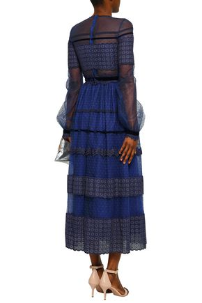 COSTARELLOS Point d'esprit and lace midi dress