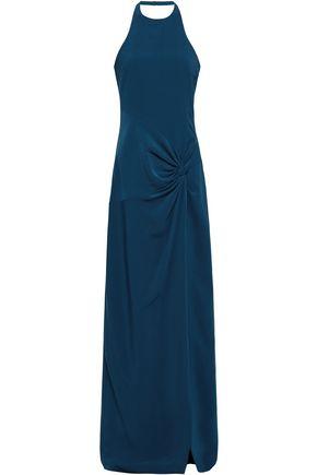 CINQ À SEPT Alia twist-front crepe halterneck gown