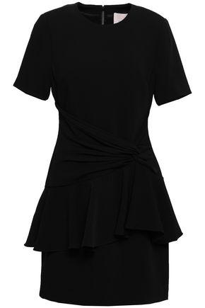 CINQ À SEPT Twist-front crepe peplum mini dress