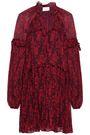 CINQ À SEPT Ruffle-trimmed printed silk-georgette mini dress