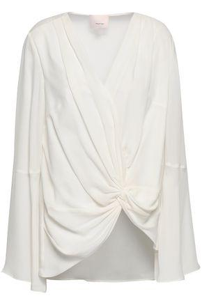 CINQ À SEPT Twist-front silk crepe de chine blouse