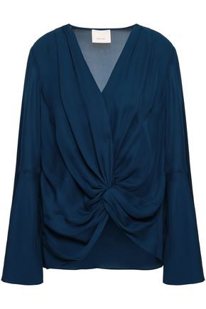 CINQ À SEPT Twist-front silk crepe de chine blouse