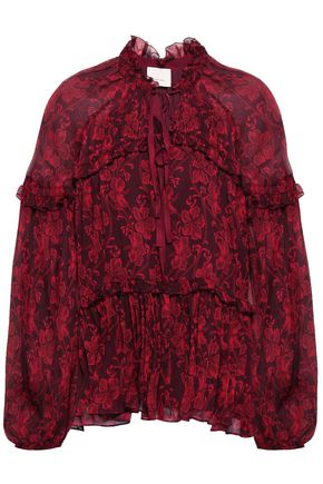 CINQ À SEPT Ruffle-trimmed printed silk-georgette blouse