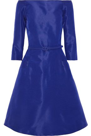 OSCAR DE LA RENTA Flared off-the-shoulder silk-faille dress