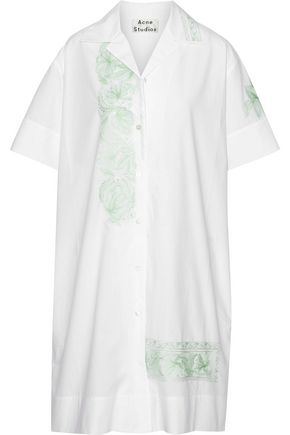 ACNE STUDIOS Jusso Pop embroidered cotton-poplin shirt dress