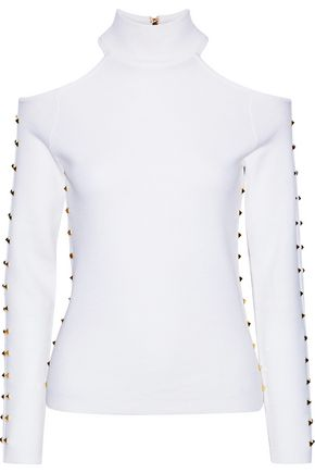 ALICE + OLIVIA Kahlo cold-shoulder studded stretch-wool turtleneck top