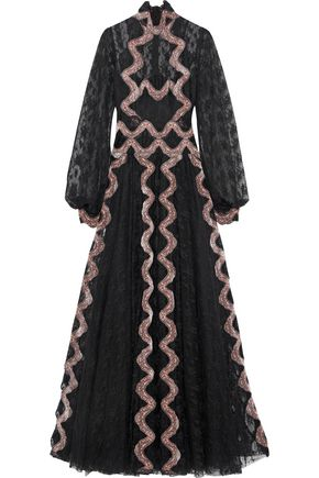 COSTARELLOS Velvet-trimmed embroidered tulle turtleneck gown