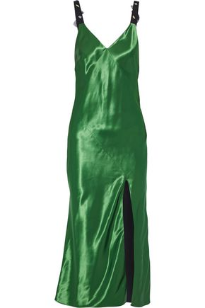 JASON WU Embellished satin midi slip dress