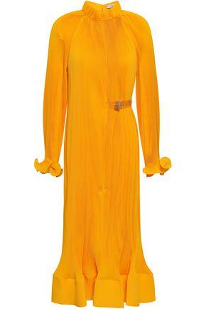 TIBI Bow-detailed plissé crepe midi dress