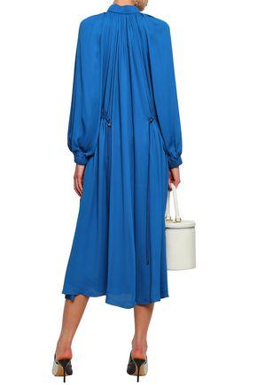 TIBI Gathered crepe turtleneck midi dress