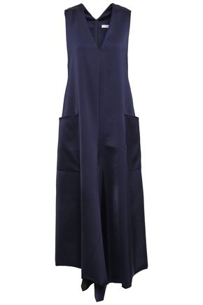 TIBI Asymmetric satin-crepe midi dress