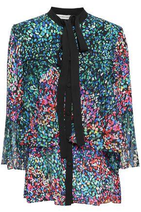 MARY KATRANTZOU Tiered printed silk-crepe blouse