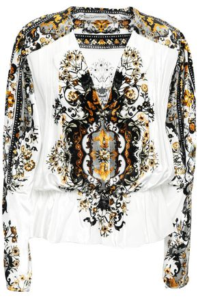 MARY KATRANTZOU Printed velvet blouse